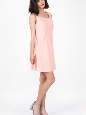 Chaton Sleeveless Oxford Dress Coral