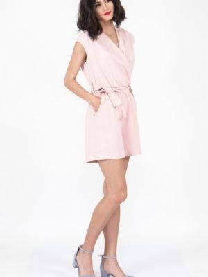 Chaton Wrap Short Jumpsuit Pink