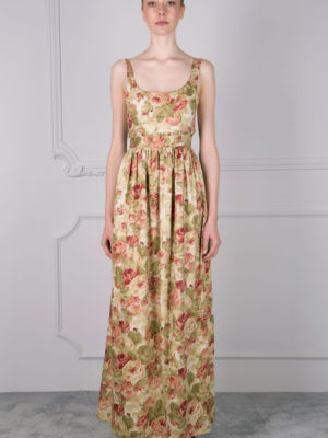 Milkwhite Long Dress Roses
