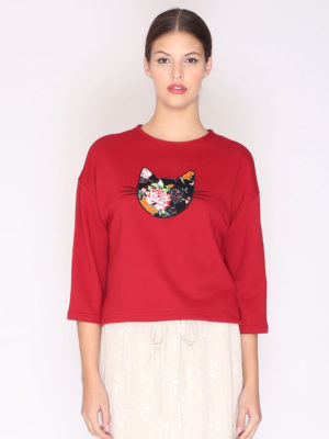 Pepaloves Whiskers Flower Cat Sweatshirt