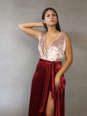 Dent'elle Pink Velvet Bodysuit