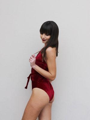 Dent'elle Red Velvet Bodysuit
