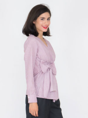 Chaton Striped Wrap Shirt