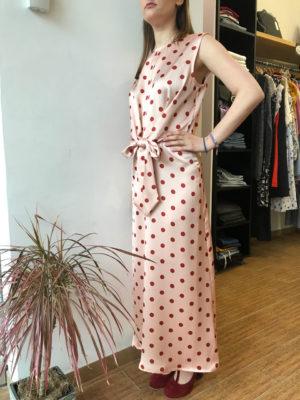 Milkwhite Σατέν Φόρεμα Πουά