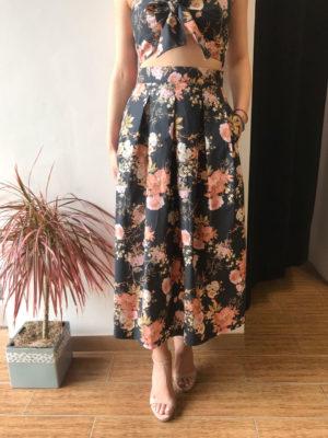Milkwhite Black Floral Skirt