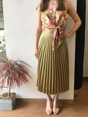 Milkwhite Pleated Skirt Olive