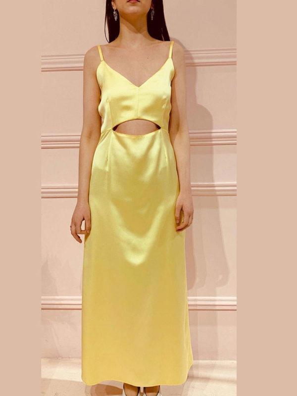 Milkwhite Σατέν Κίτρινο Φόρεμα