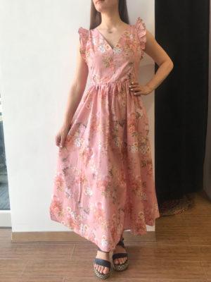 Milkwhite Φλοράλ Φόρεμα με Δέσιμο