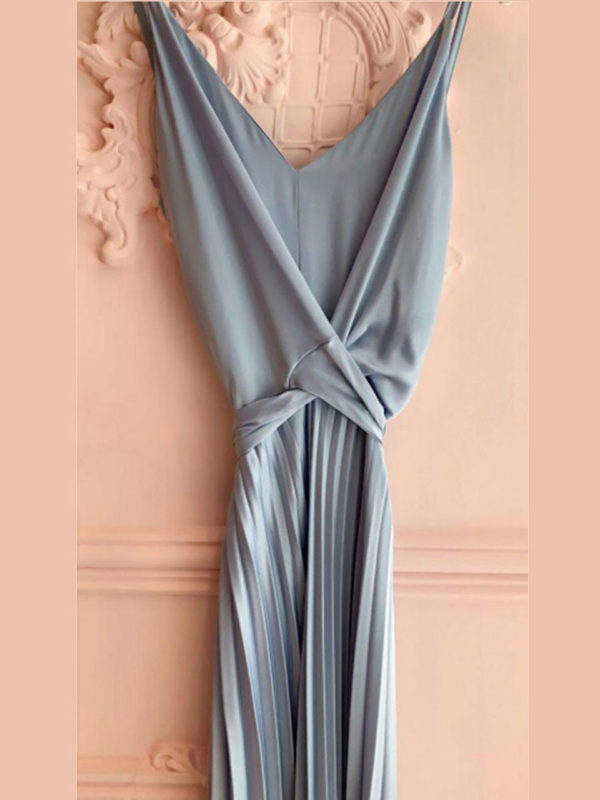 Milkwhite Pleated Dress Baby Blue