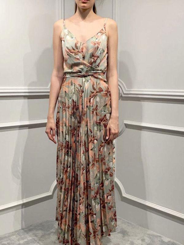 Milkwhite Pleated Dress Floral