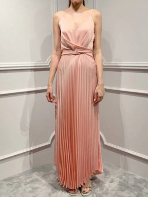 Milkwhite Pleated Dress Nude