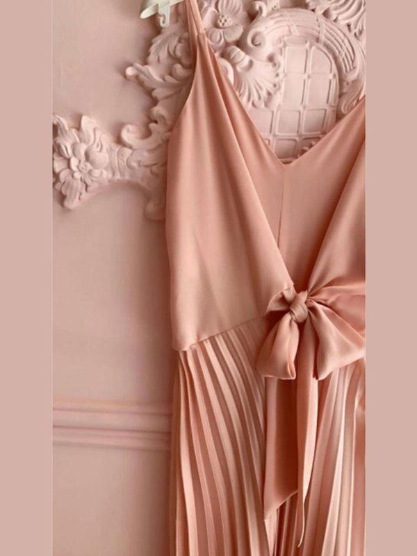 Milkwhite Pleated Dress Nude