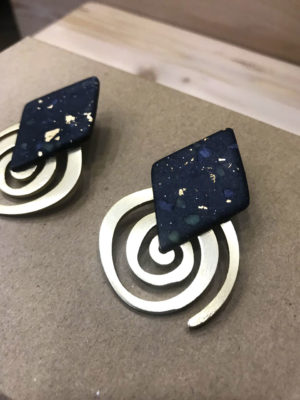 Earrings Blue-Black Spiral