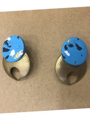 Earrings Blue Seashell