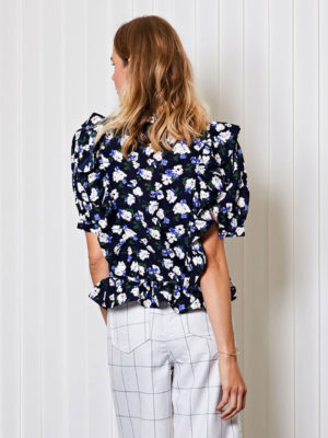 Ghospell Floral Ruffle Blouse