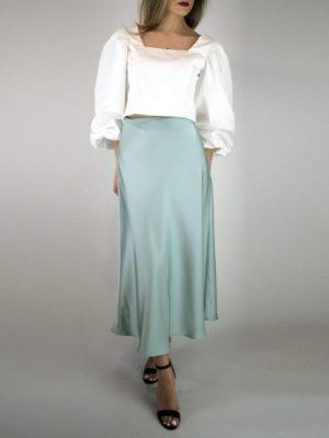 Milkwhite Glossy Skirt Mint