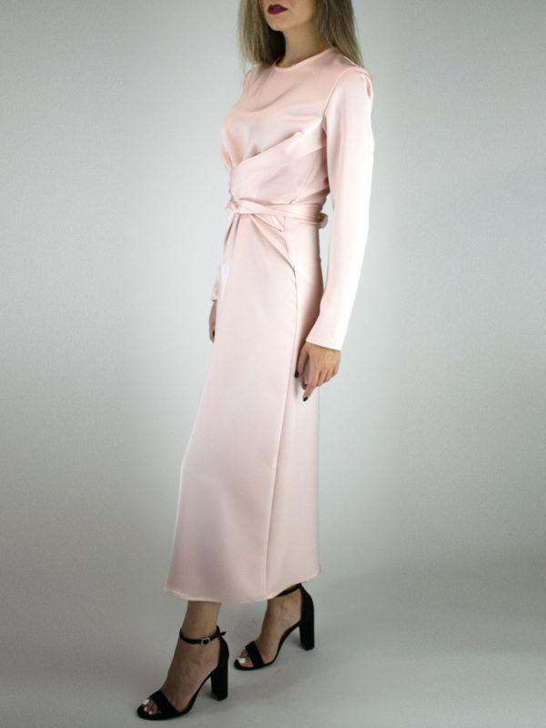 Milkwhite Glossy Wrap Dress Dusty Pink