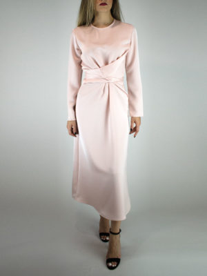 Milkwhite Glossy Wrap Dress Dusty Pink