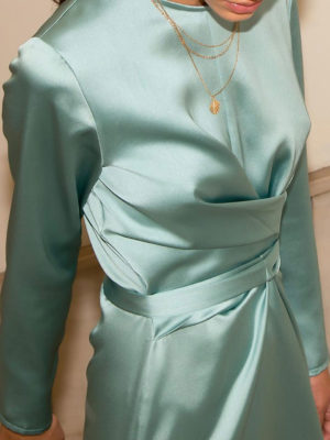 Milkwhite Glossy Wrap Dress Mint