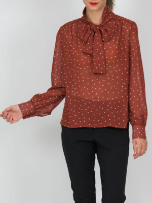 Chaton Shirt Polka Dots Red Brick