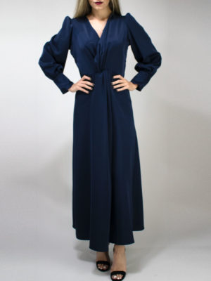 Milkwhite Glossy Dress Navy Blue