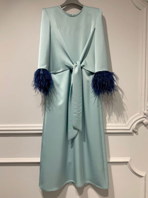 Milkwhite Mint Wrap Dress with Feathers