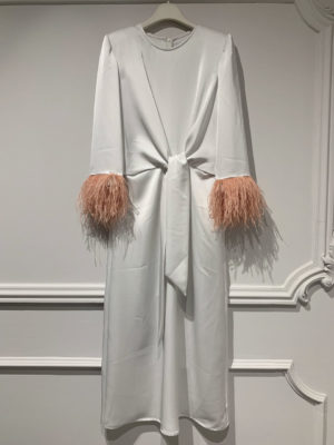 Milkwhite Off-white Wrap Dress with Feathers