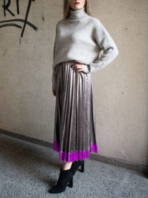 Orion London Judith Pleated Skirt Silver