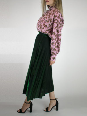 Orion London Mabel Pleated Skirt Green