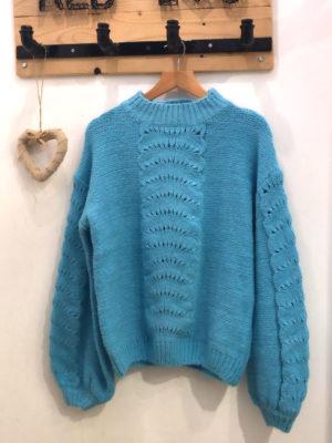 Milkwhite Sweater Turquoise