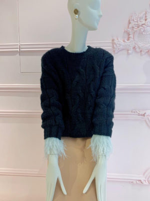 Milkwhite Sweater with Feathers Black