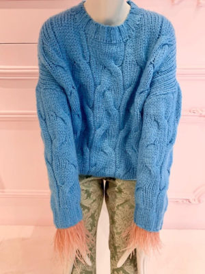 Milkwhite Sweater with Feathers Blue