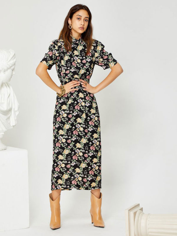 Ghospell Floral Midi Dress