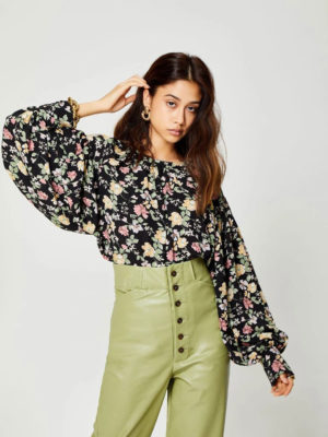 Ghospell Floral Oversized Blouse