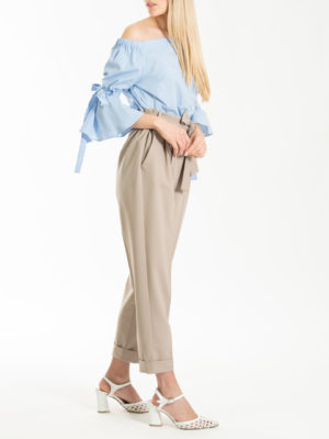 Chaton Beige Pants with Belt