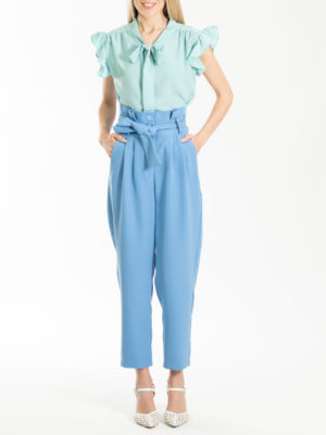 Chaton Pants With Pleats Light Blue