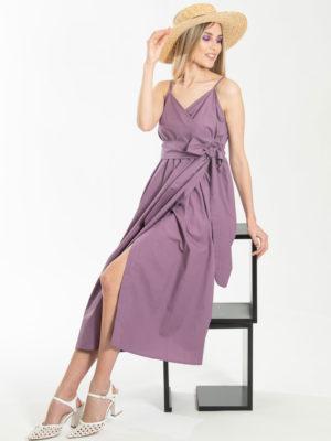 Chaton Wrap Midi Dress Grape