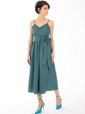 Chaton Wrap Midi Dress Green