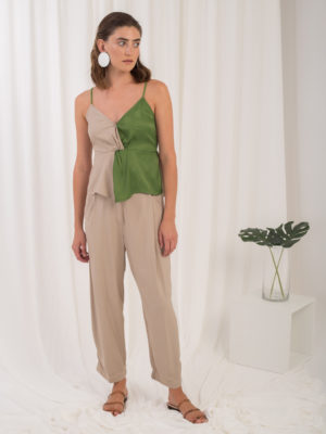 Ofilia's Color Blocked Top Green