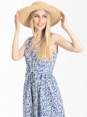Chaton Floral V-neck Dress Blue