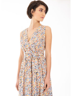 Chaton Floral V-neck Dress Orange