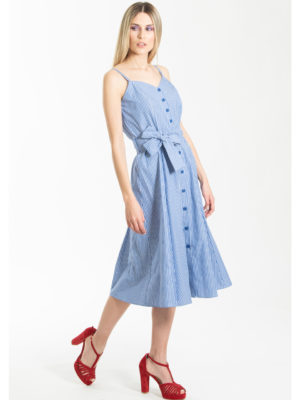 Chaton Striped Sleeveless Dress Blue