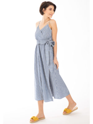 Chaton Striped Wrap Dress Blue