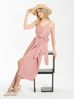 Chaton Striped Wrap Dress Red