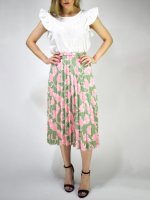 Milkwhite Printed Pleated Skirt