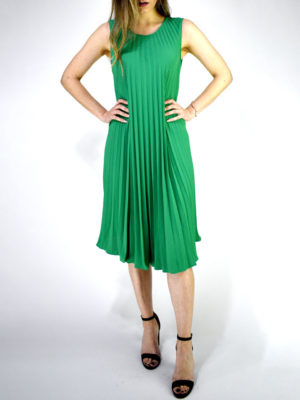 Orion London Pleated Dress Green