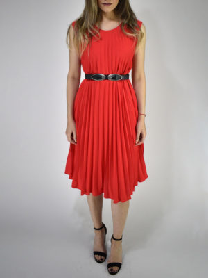 Orion London Pleated Dress Red