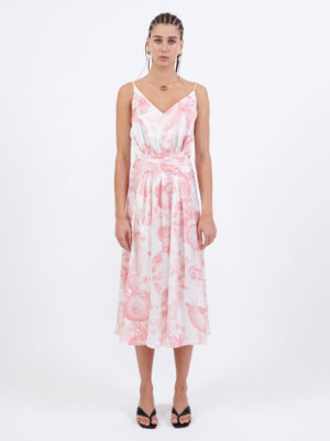 Milkwhite Long Printed Wrap Slip Dress