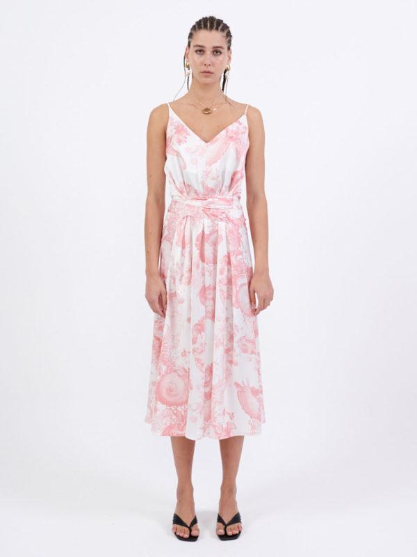 Milkwhite Long Printed Wrap Slip Dress