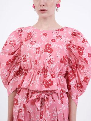 Milkwhite Puff Sleeves Top Pink